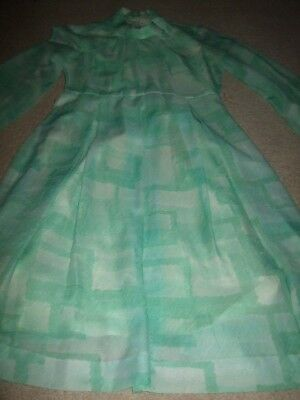 vintage retro 60s 70s green white abstract check dress 8 10 lined geek secretary