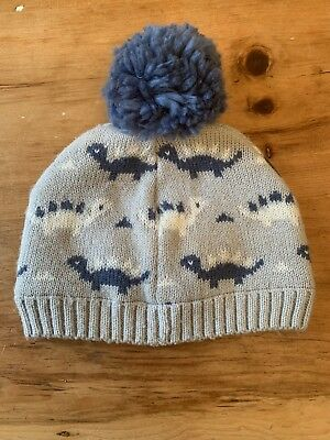 John Lewis Childs Blue And Grey Dinosaur Woolly Hat