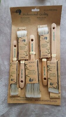 Paint Brush Set ECO FRIENDLY pack of 5 Professional Quality Bamboo Handcrafted