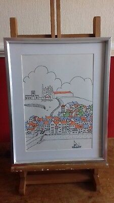 Original Framed A4 Artwork Whitby Abbey Landscape Gift New Home Decor Modern