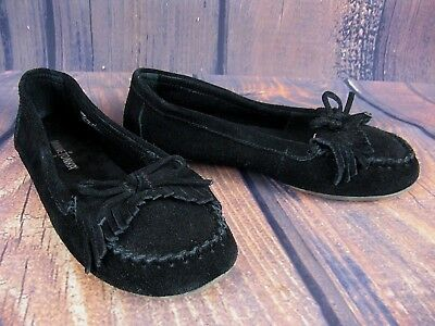 Minnetonka Women's Moccasins Loafers Black Suede Leather Comfort Slip On 7M