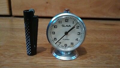 Soviet vintage mechanical alarm clock SLAVA