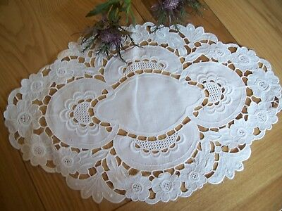 Beautiful Linen Oval Vintage Tray cloth/ table centre .
