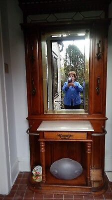 Hall Tree Vintage With Bevelled Mirror and Storage Drawer