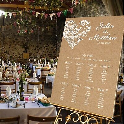 Personalised Wedding TABLE SEATING PLAN/WEDDING SIGN -KRAFT