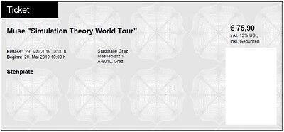 2 Tickets Muse Simulation Theory Wold Tour Stadthalle Graz 29.5.19 Stehplatz