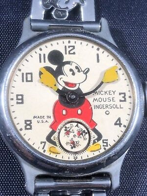 Rare Ingersoll Mickey Mouse Watch Early 1930s No Crystal, Overwound, Historic