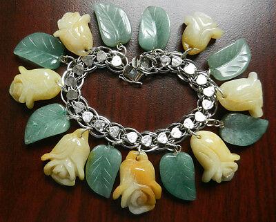 Vintage Sterling Charm Bracelet Carved Yellow Jade Flower and Aventurine Charms