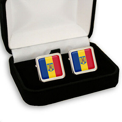 Romania Romanian Flag & Coat Of Arms Men'S Cufflinks / Tie Slide Set Engraving
