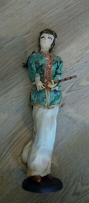 vintage Chinese or Japanese fabric doll ornament on stand old