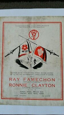 Ray Famechon V Ronnie Clayton Boxing Programme King Hall 1949