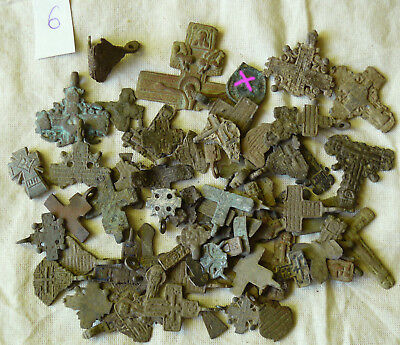 Metal detector finds.Mix lot  ancient crosses (The age of 12-19) N66