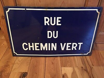 Vintage original french Blue Enamel Road sign