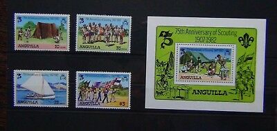 Anguilla 1982 75th Anniversary of Boy Scout Movement set & Miniature Sheet MNH