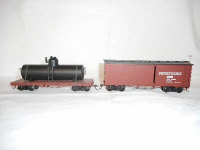 2 x 0n30-Bachmann Tank Car 27199- unlettered u.Box-Car 27014 PRR m. OVP Spectrum