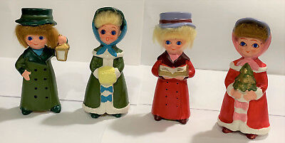 Vintage Napcoware X7974 4  Carolers Very Collectable And Rare Faux Hair