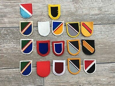 Lot of 17 US Army Beret Flashes, Different Era's