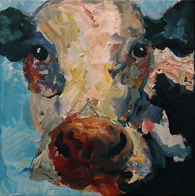 ELLE RAINES 12 x 12 ORIGINAL COW PAINTING REALISM IMPRESSIONISM STRETCHED CANVAS