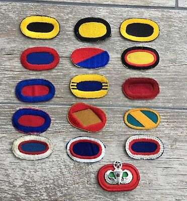 Lot of 16 US Army Cloth Parachute Ovals from different Era's