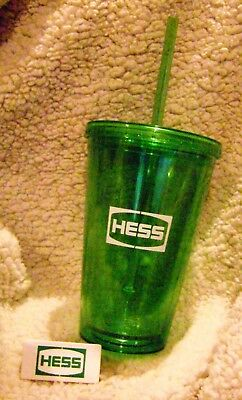 Hess Corporation Logo Large Tumbler Glass And Hess Logo Magnet! Collectible!