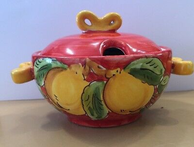Vietri Pottery-Parmesan/sugar container Lemon. Made/painted by hand-Italy.
