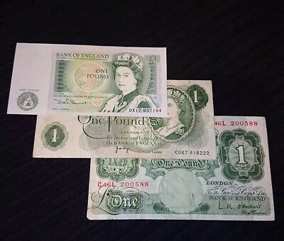 🌟 3 x  Bank of England £1 banknotes Somerset page O'Brien