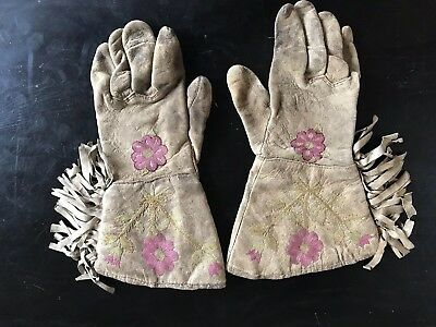 Early Native American Gauntlet Embroidered Gloves