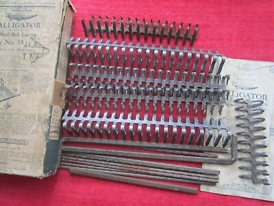 "VINTAGE 1941 ALLIGATOR 35-M STEEL BELT LACING FOR 9/32"" to 5/16"" BELTS, + MORE"