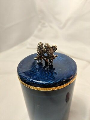 Faberge Collectible Cobalt Blue & Gold Crystal Love Birds Candle Top Topper