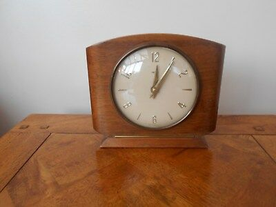 Vintage Smiths Wooden Mantle Clock Good Working Condition