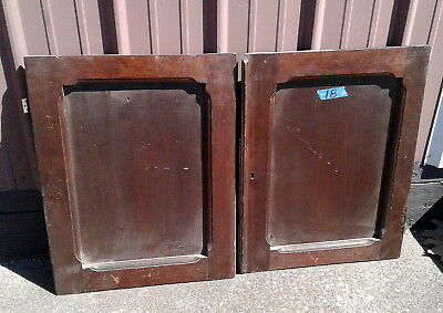 Primitive Pair Walnut Cupboard Bottom Doors Antique 1890's Era