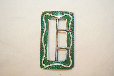 Antique Silver and guilloche enamel buckle