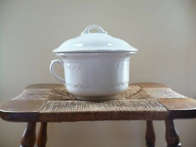 Antique Ironstone Chamber Pot Potty with Lid