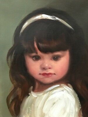 Barnes Oil Painting Vintage Antique Style Portrait Cherub Angel Girl Adorable