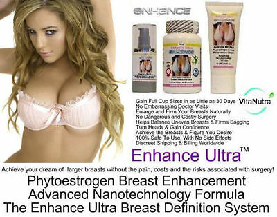 2x Breast Enlargement Cream Pills Serum Bust Enhancement Firming Up C D Cup Bra