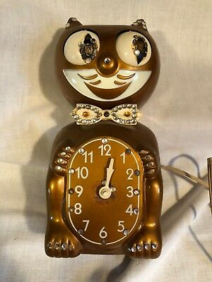 Vtg Kit Kat Cat Copper Jeweled Electric Clock As Is Running for PARTS & REPAIRS