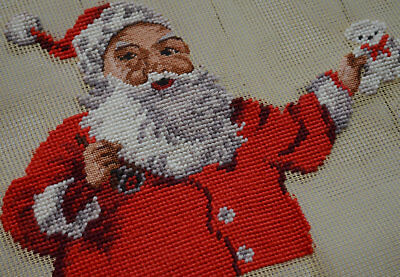 """18"""" Square Vintage Preworked Needlepoint Canvas Santa Claus Completed"""