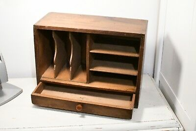 Vintage Wooden Pigeon Holes Writing Cabinet with drawer for craft - haberdashery