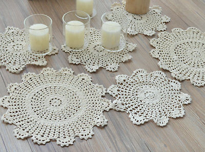 10 Crochet Doilies Lot Table Runners French Country Rustic Ecru Wedding Coasters