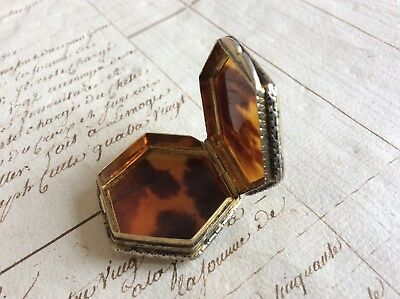 Antique Continental Italian Solid Silver Gilt Faux Tortoiseshell Pill Patch Box