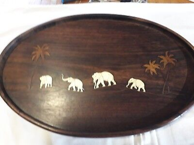 Antique Wood and Bone Elephant Inlaid Serving Tray