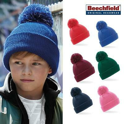 91daed0067a9aa Kids Reflective Bobble Beanie - Beechfield Children's Trendy Winter hat  (B406B)