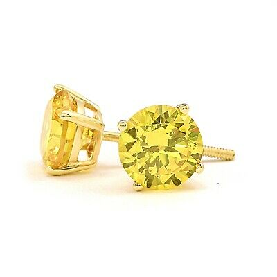 2 Ct Round Yellow Canary Earrings Studs Solid 14K Yellow Gold Screw Back Basket