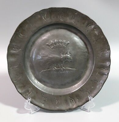 Antique French grey pewter plate Order of the Porcupine crown fish detail