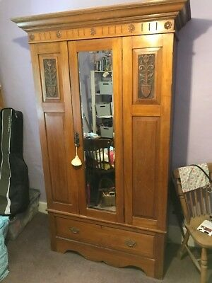 Satin Walnut Mirrored Antique Wardrobe