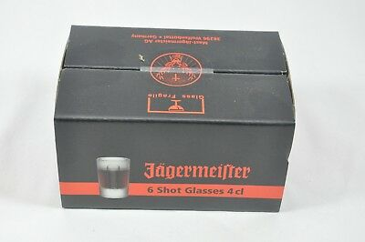 Jagermeister Set of 6 Frosted Glass Shot Glasses New In Box 4cl