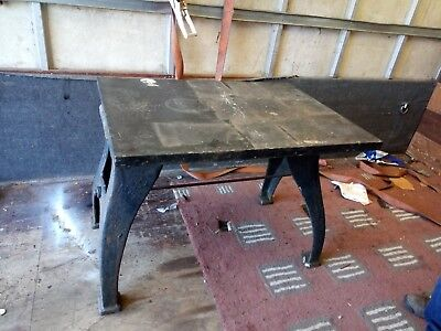 Early 20th C Solid Cast Iron Industrial Metal Workers Table