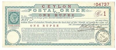 CEYLON Postal Order Rs.1 issued 1890