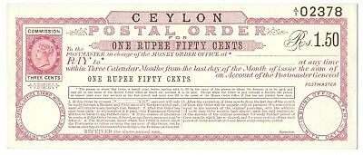 CEYLON Postal Order Rs.1.50 mint unissued, clean and fresh