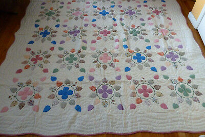 "NEW Handcrafted Petal Floral Patterns Quilt   87"" x 87"""